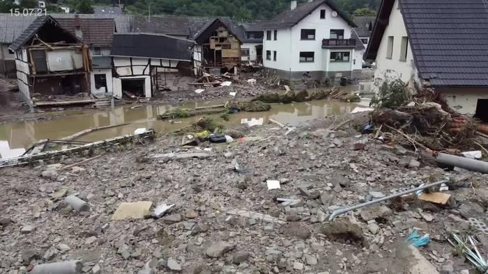 Video: Hochwasser: 1300 Vermisstenmeldungen im Kreis Ahrweiler