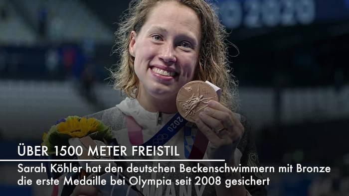 Video: Erste Beckenschwimm-Medaille seit 2008: Bronze für Köhler