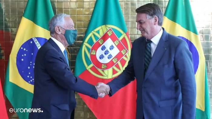 News video: Einer trägt Maske, der andere nicht - Rebelo de Sousa bei Bolsonaro