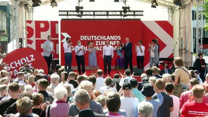 News video: Wahlkampf in Deutschland: Scholz in Umfragen jetzt deutlich vor Laschet