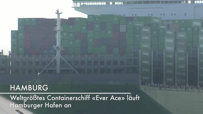 News video: Weltgrößtes Containerschiff: «Ever Ace» läuft Hamburger