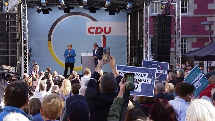 News video: Wahlkampf in der Heimat: Merkel besucht Laschet in Aachen