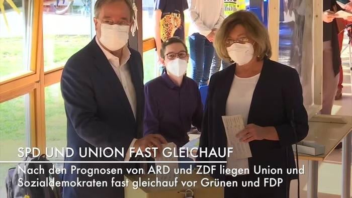 News video: Bundestagswahl: Union und SPD Kopf-an-Kopf-Rennen