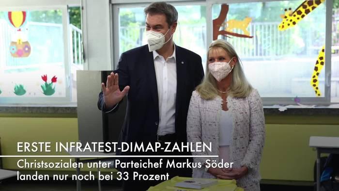 Video: Prognose: Deutliche Verluste für die CSU in Bayern