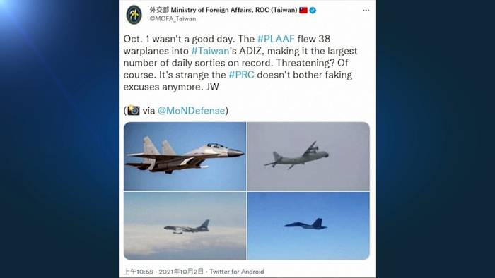 News video: Luftraumverletzung mit 38 Jets: Taiwan beschuldigt China