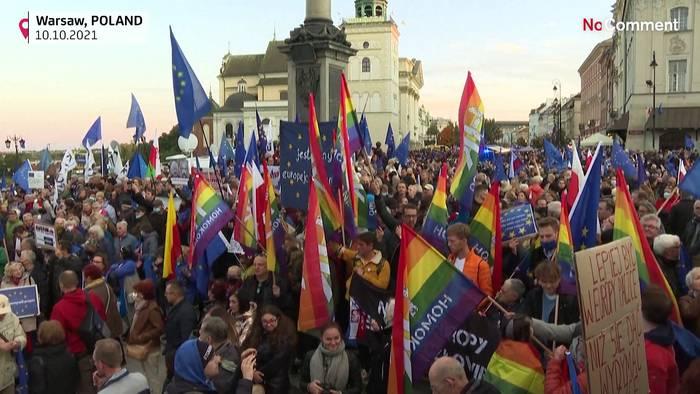 News video: 100.000 Polen protestieren gegen