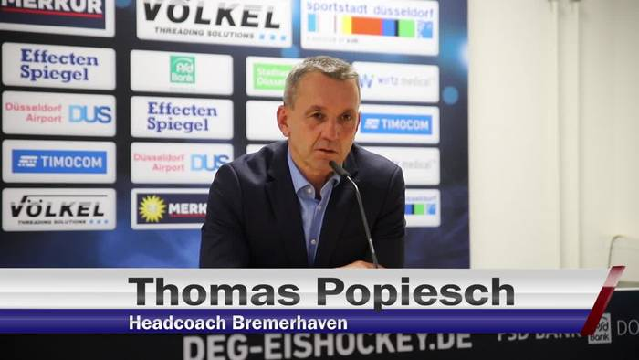 Video: Das sagen Harry Kreis und Thomas Popiesch zum Sieg der DEG gegen Bremerhaven